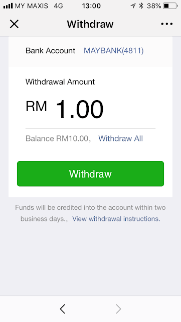 WeChat Pay: withdraw balance to Maybank