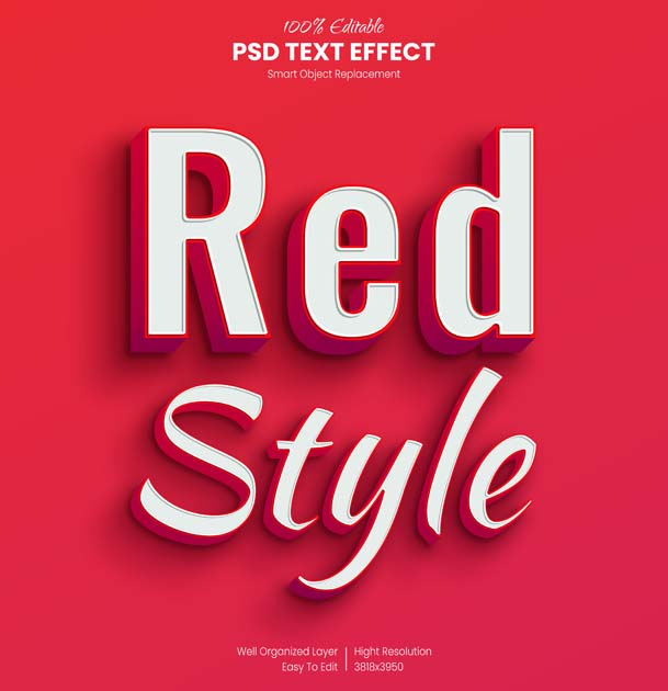 Red Style Text PSD Mockup