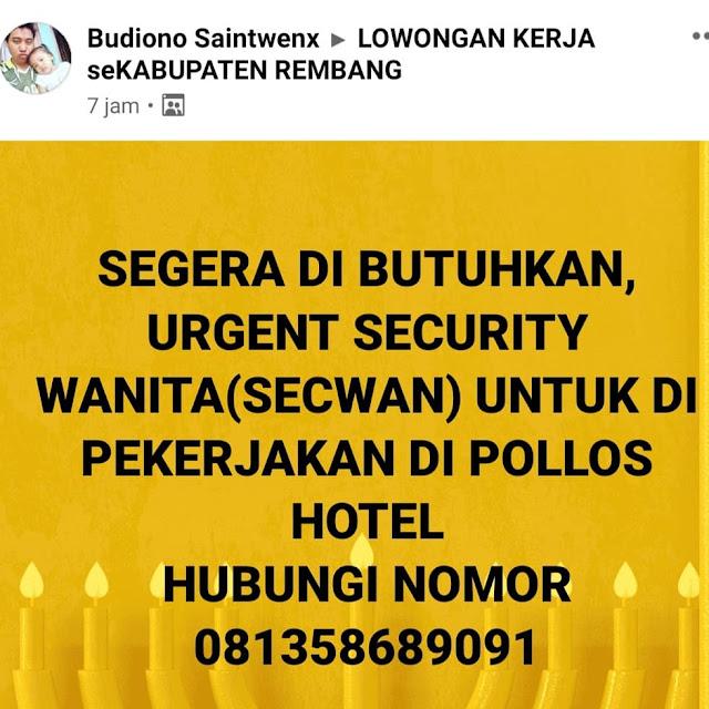 Lowongan Kerja Satpam Wanita Pollos Hotel & Gallery Rembang
