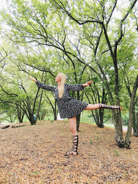 Goldie's black and white ikat dress, Solo Hope In the Rough necklace, AMI Clubwear tall black gladiator sandals, Song Yee Designs turquoise ring, boho outfit, bohemian outfit, festival outfit, hippie outfit