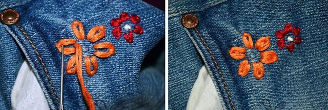 Hướng dẫn thêu hoa trên quần jean - Hình 3