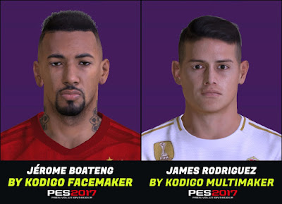 PES 2017 Faces Jerome Boateng & James Rodriguez by Kodigo