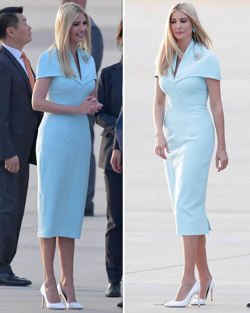 Ivanka Trump shows off her model figure in tight blue dress as she arrives in South Korea