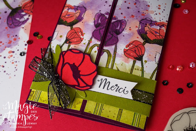 Carte Stampin' Up! à pliage original confectionnée avec la collection Champs de coquelicots