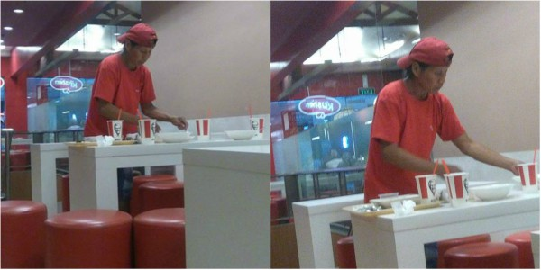 Old man cleans tables at KFC to take home leftover food for family