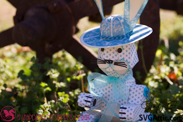 3d paper bunny with hat