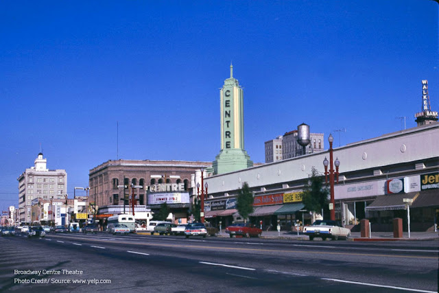 old-fashioned photo of the Broadway Centre Theatre from the street