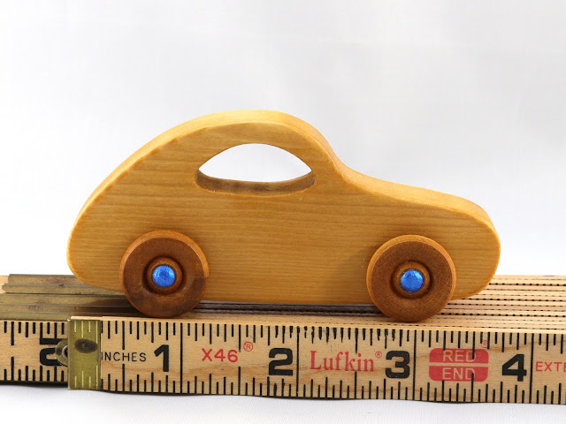 Handmade Wooden Toy Car Classic 1957 Bug Play Pal Amber and Metallic Blue Hubs Wood Rule