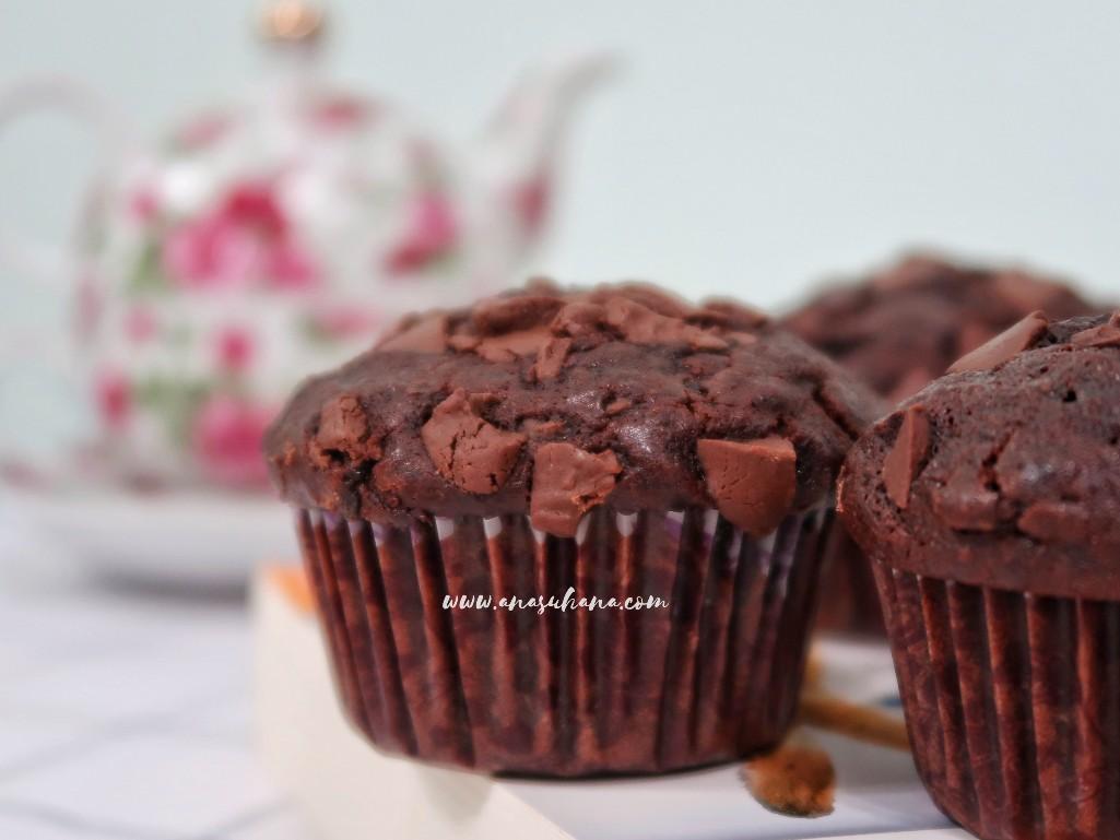 Resipi Double Chocolate Muffin Sukatan Cawan Yang Sedap dan Gebu
