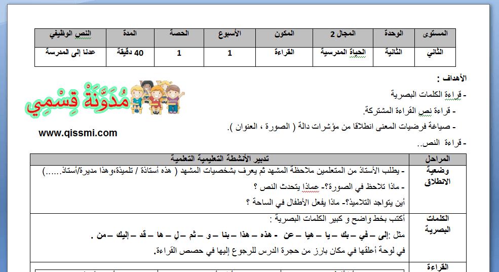 جذاذات الوحدة الثانية في رحاب اللغة العربية للمستوى الثاني - القراءة - التعبير الكتابي - الكتابة
