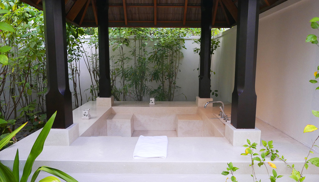 Euriental | fashion & luxury travel | Conrad Maldives, beach villa outdoor shower and bath