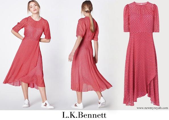 Crown Princess Elisabeth wore LK Bennett Gainsbury Red Multi Dress