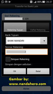 mentransfer uang ke bank mandiri