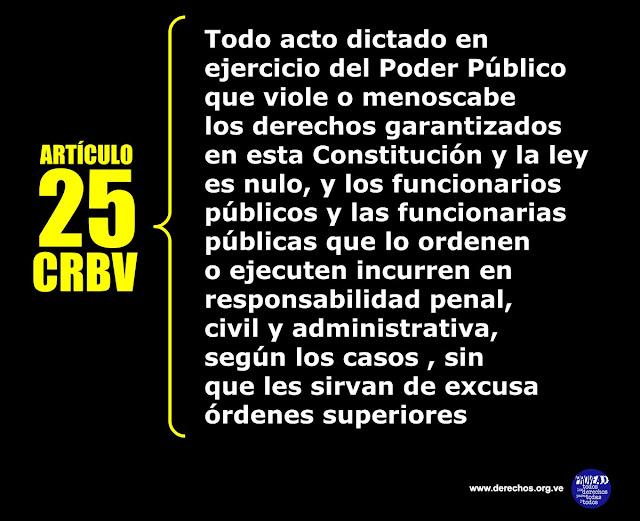 La CRBV y su artículo 25