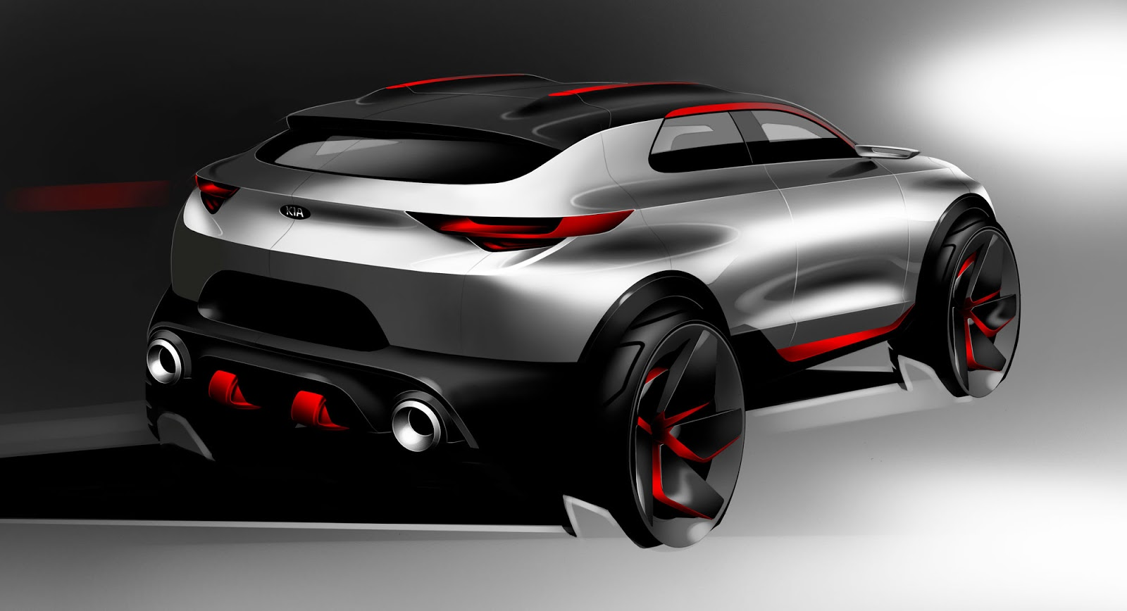 Kia Stonic sketch - option 2 styling from the rear