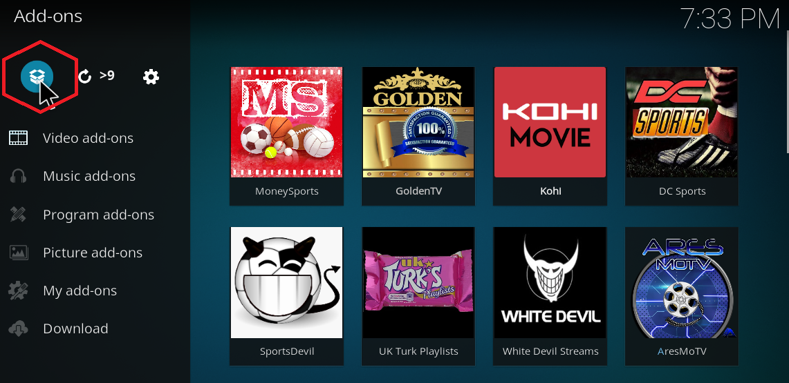 how to get tv icon on kodi home screen