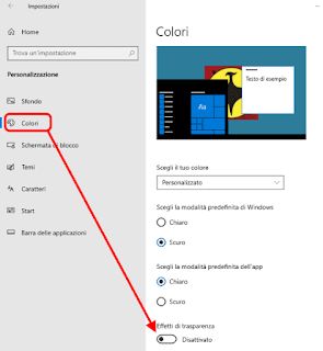 Windows 10 - Disattivare effetti trasparenza