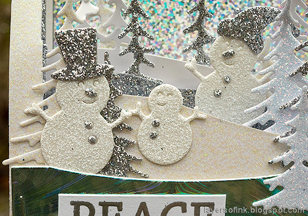 Layers of ink - Scenic Winter Ornaments Tutorial by Anna-Karin Evaldsson. Paper snowmen.