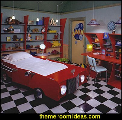 Car beds Car Themed Bedrooms for Teenagers boys cars  car beds - car racing theme bedrooms - theme beds - car beds - race car beds - cars - transportation theme - construction theme - boys bedroom ideas - garage themed bedrooms - boys racing cars themed bedrooms - Car Themed Bedrooms for Teenagers - car beds for kids - Checkered Flags Wall Decals