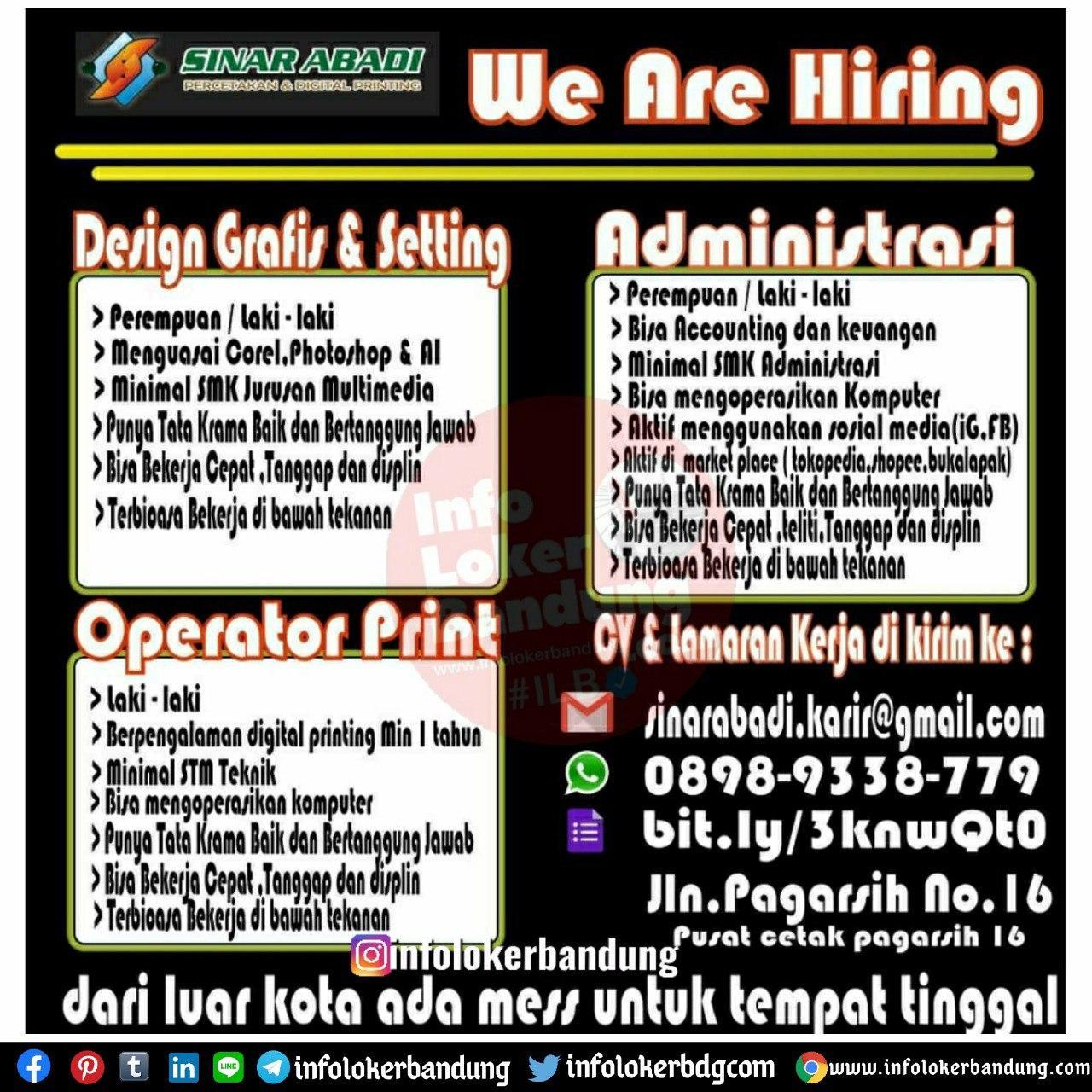 Lowongan Kerja Sinar Abadi ( Pusat Cetak Pagarsih 16 ) Bandung Agustus 2020