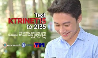 ABS CBN Mobile Unli Tri-Net Calls and Texts with KTRINET15 Promo