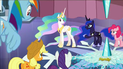The ponies surround the shattered Crystal Heart