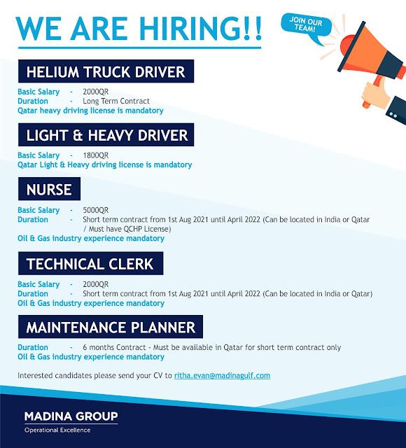 Qatar Jobs, Madina Group, Helium Truck Driver, Light Driver, Heavy Driver, Nurse, Technical Clerk, Maintenance Jobs, Planner,