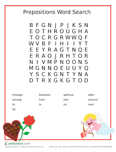 free valentines preposition word search activity our