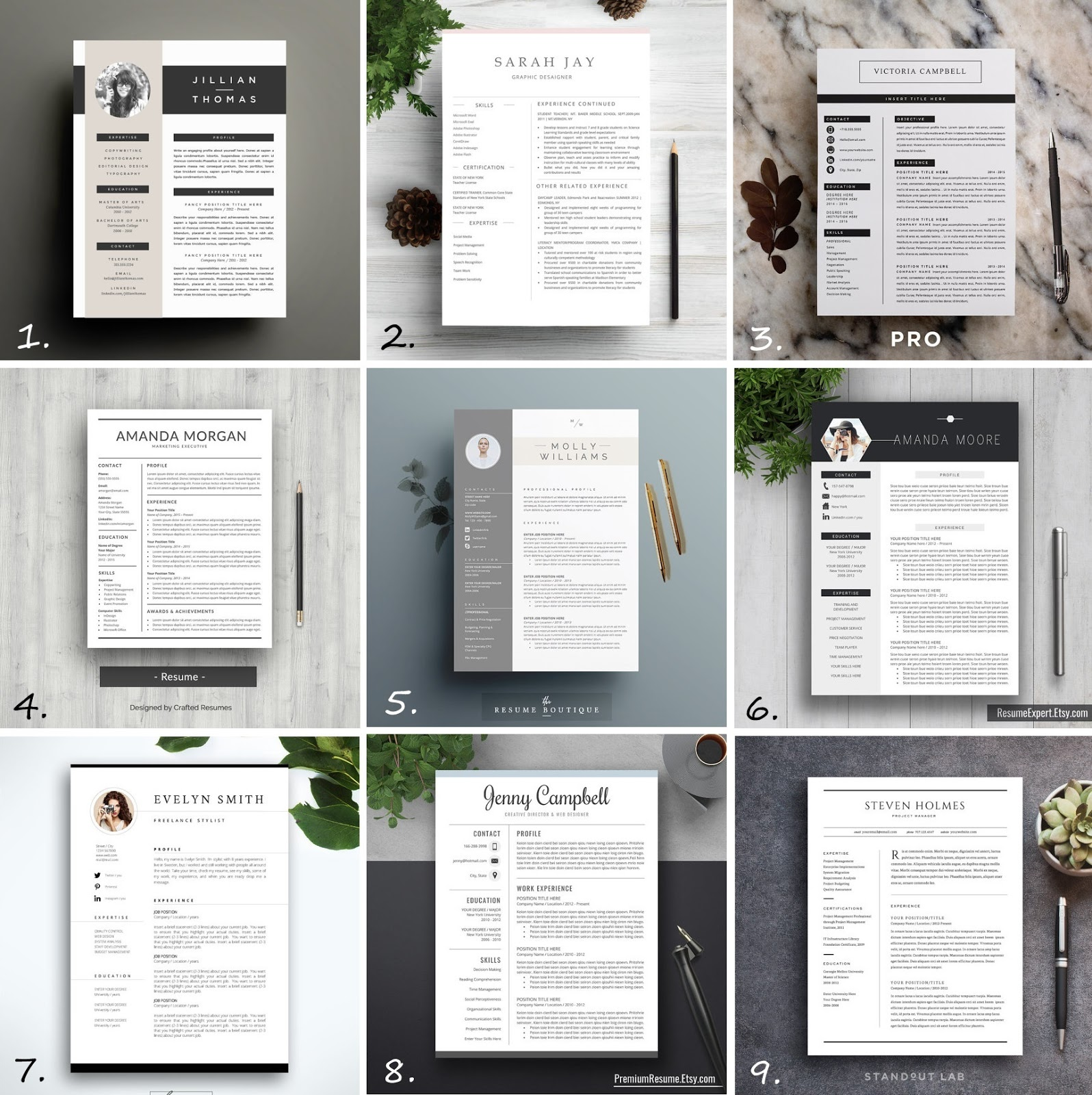 professional-minimal-creative-resume-templates