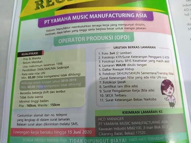 Lowongan Operator Produksi Pt Yamaha Music Manufacturing Asia Cikarang Barat Serangid
