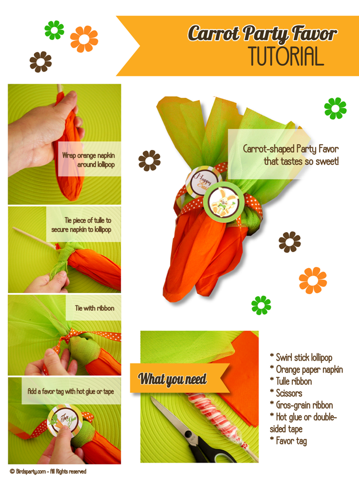 DIY Super Easy Mock Carrot Easter Party Favors - BirdsParty.com