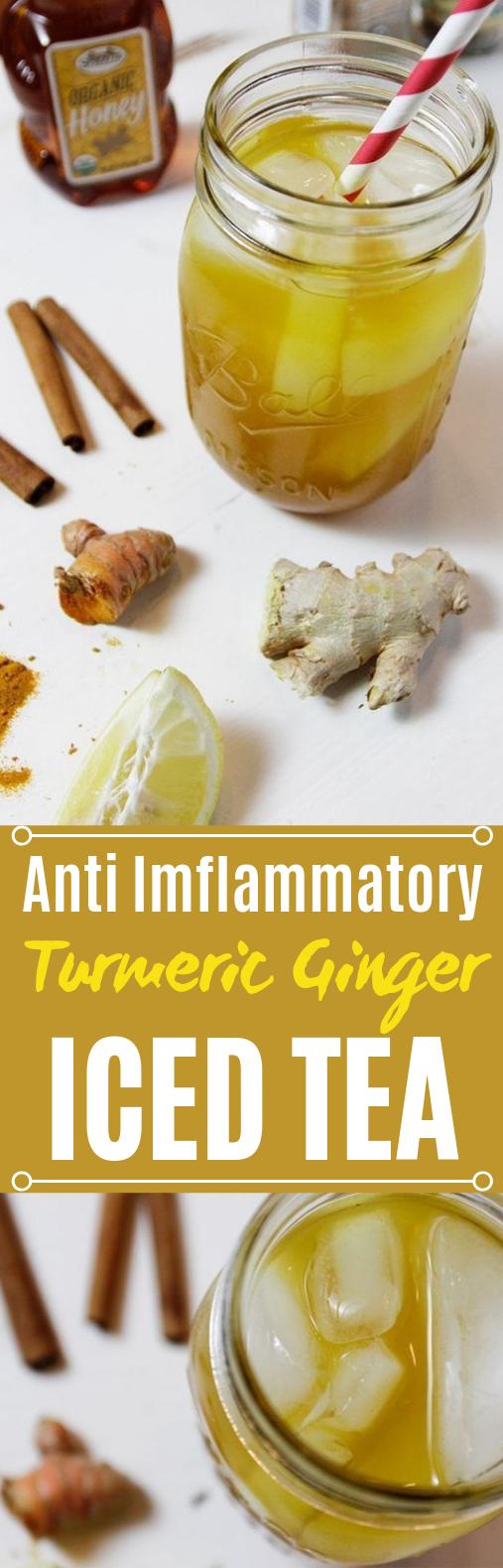 Turmeric Ginger Iced Tea #healthy #drinks