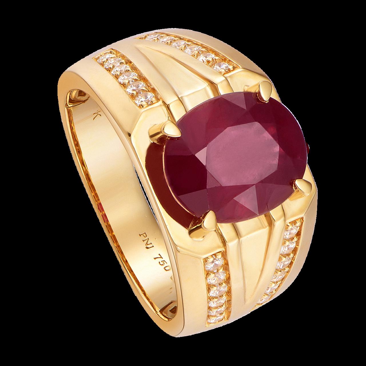 Nhẫn nam Vàng 18K đính đá Ruby PNJ RBXMY000627