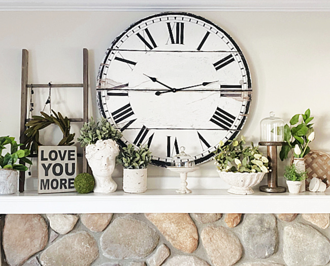 mantel with clock and DIY cement objects