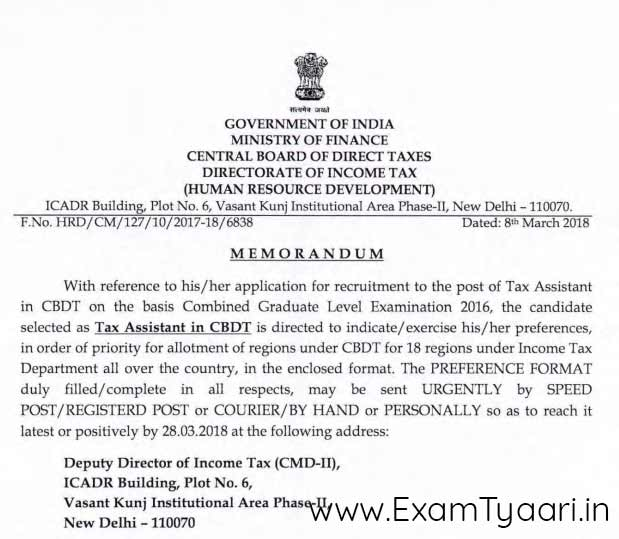 Tax Assistant in CBDT for SSC CGL 2016 State Preferences [PDF] - Exam Tyaari