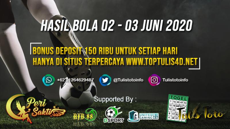HASIL BOLA TANGGAL 02 – 03 JUNI 2020