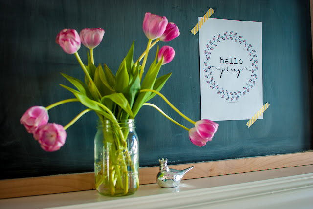 Farmhouse Style Spring Mantle with Pink Tulips
