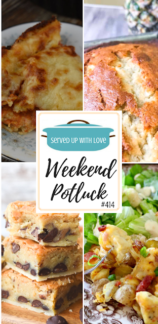 Weekend Potluck featured recipes include Impossible Chicken Parmesan Pie, Toll House Pie Bars, Hawaiian Banana Bread, Air Fryer Loaded Chicken and Potatoes and so much more.