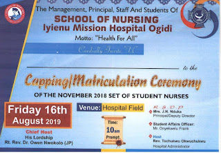 SON Iyi-Enu Capping / Matriculation Ceremony Schedule 2018