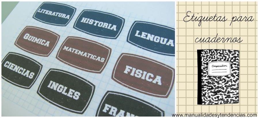 Etiquetas imprimibles gratis para los cuadernos