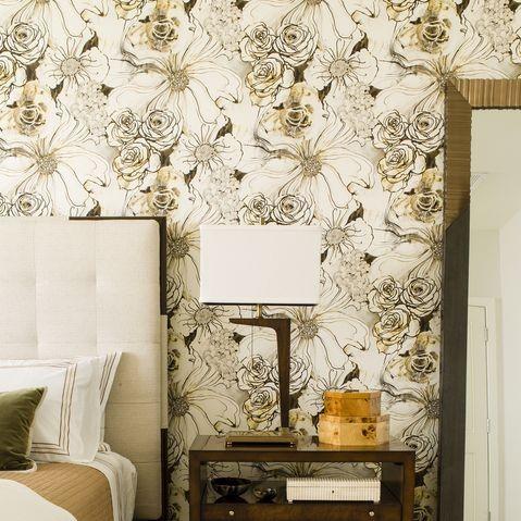 Wallpaper Dinding Kamar Tidur Remaja Perempuan Motif Bunga