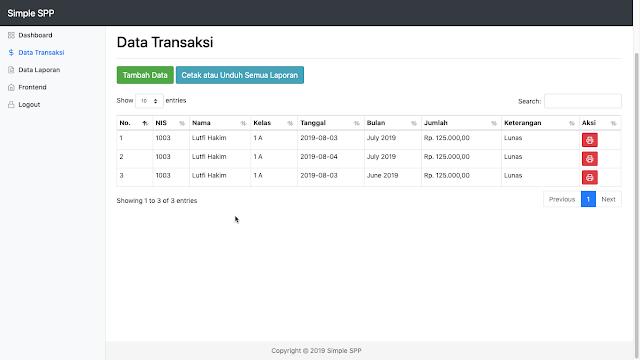 Source Code Aplikasi Pembayaran SPP Berbasis Web dengan Codeigniter MySQL dan Bootstrap 4