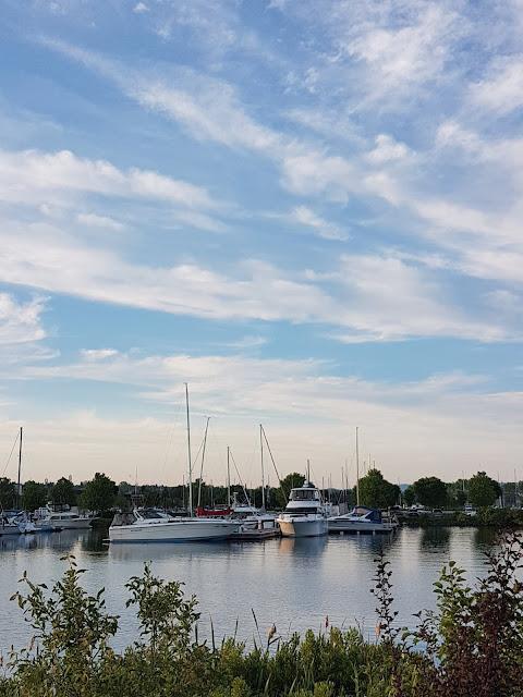 Marina in Thunder Bay with sailboats