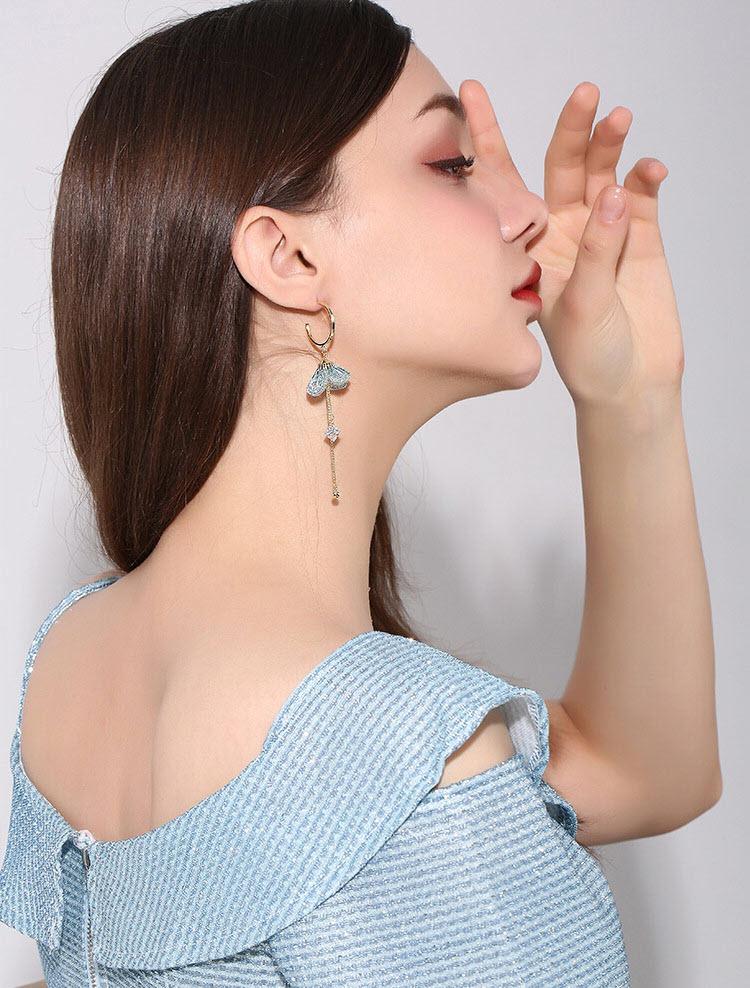 韓風唯美綠絲花流蘇耳環