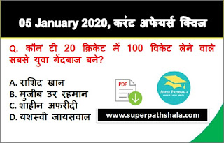 Daily Current Affairs Quiz in Hindi 05 January 2020
