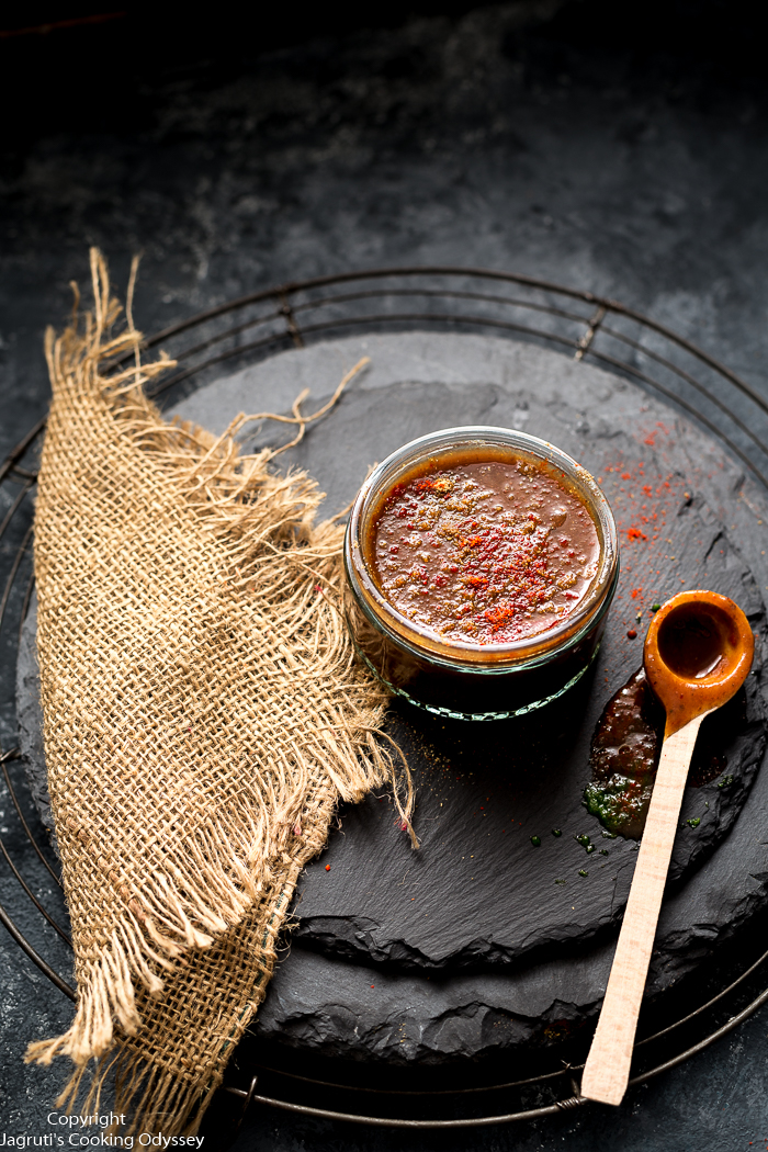 Gujarati Date and Tamarind Chutney also known as imli ki chutney all over India. It is sweet, spicy and tangy.