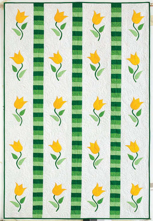 Tulip Twist Flower Quilt Designed and Machine Quilted by LAURIE TIGNER for Quilting Company