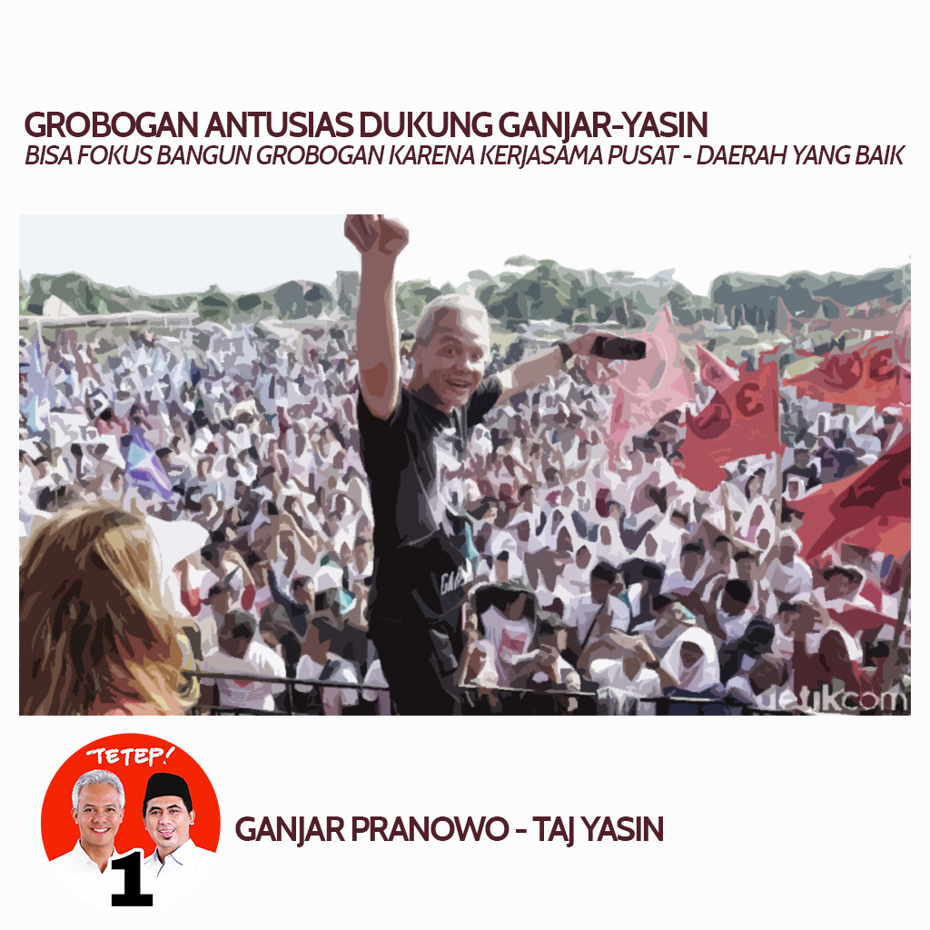 Ganjar Pranowo-Taj Yasin Ditargetkan Menang 80 Persen di Grobogan