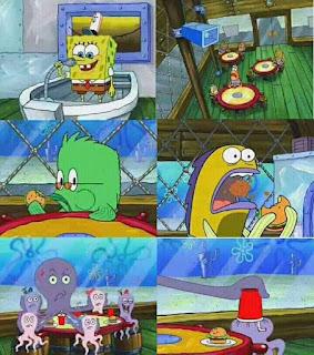Polosan meme spongebob dan patrick 161 - keluarga gurita di krusty krab