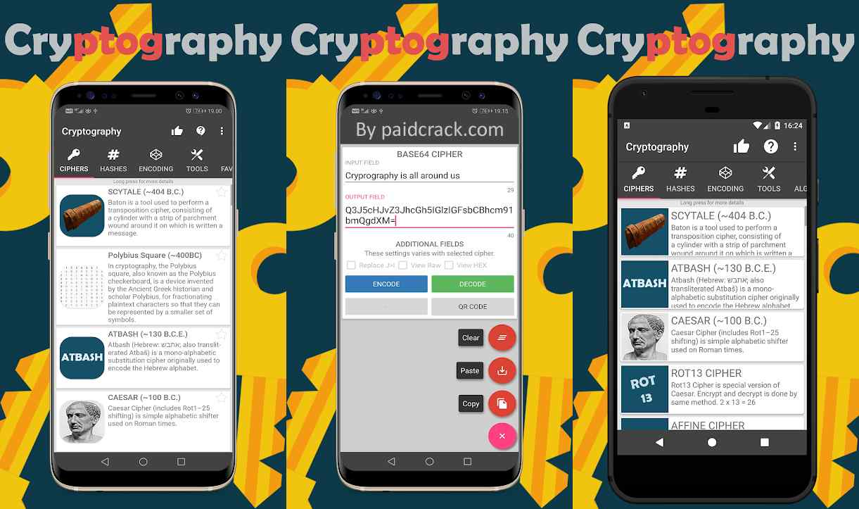 Cryptography Collection of ciphers and hashes Pro Apk 1.10.3